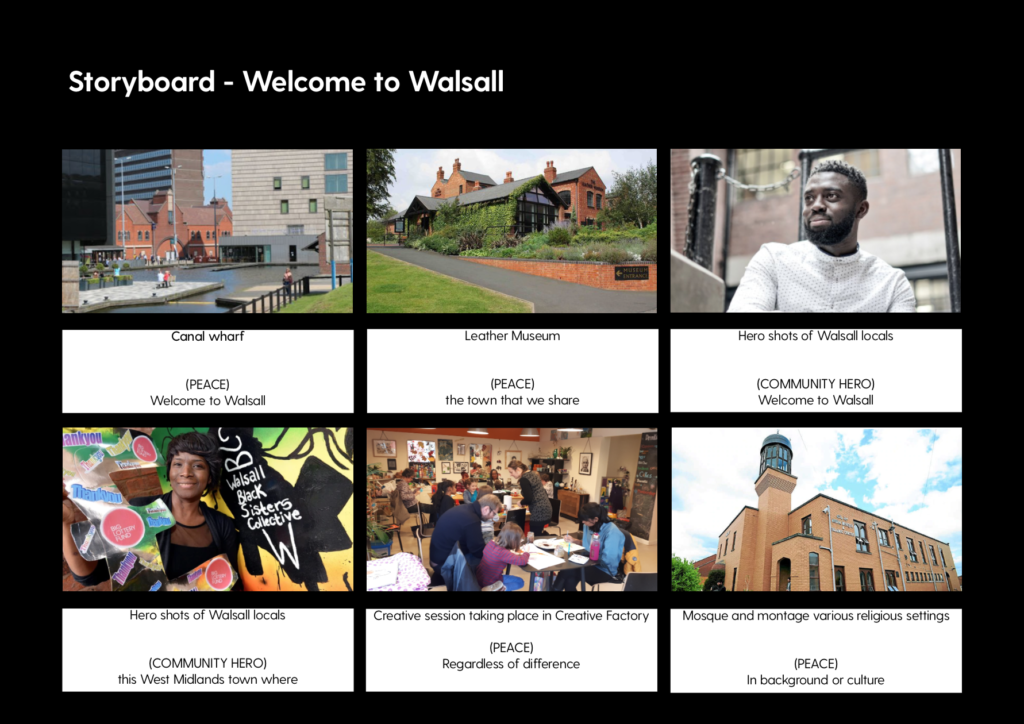 Storyboard for Walsall for All video